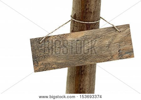 Hanging wooden signboard hold on tree trunk isolated on white background with clipping path