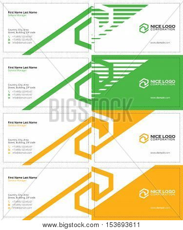 tech green and yellow colors, business cards with the letter s
