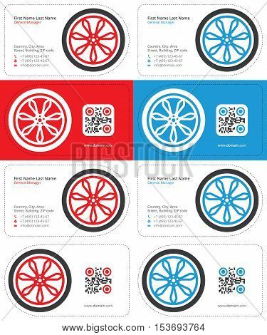 car wheel business cards, red and blue colors with a qr code, die cut cards