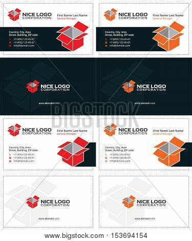 box business cards, red and orange colors 3d