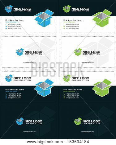 box business cards, blue and green colors 3d