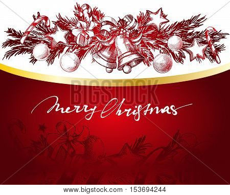 Christmas red and gold background with fir twigs and balls hand drawn vector llustration realistic sketch