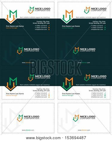 business cards with the letter m and the house, dark green, green and yellow colors