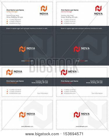 business cards with the letter m, gray, orange and red colors