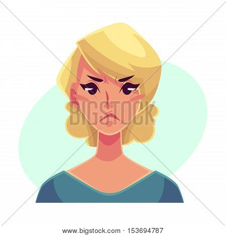 Pretty blond woman, angry facial expression, cartoon vector illustrations isolated on blue background. Beautiful woman frowns, feeling distressed, frustrated, sullen, upset. Angry face expression