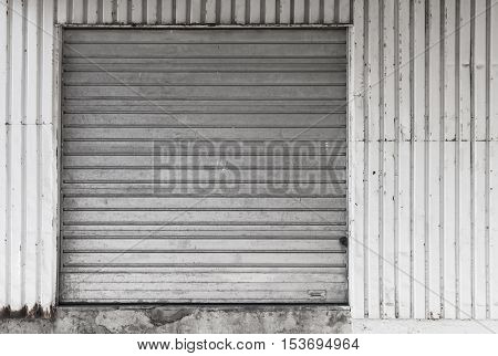 Metal Warehouse Wall With Closed Gate