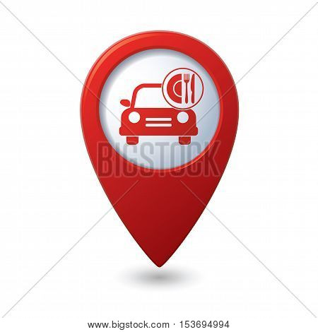 Car with meal icon on map pointer, vector illustration