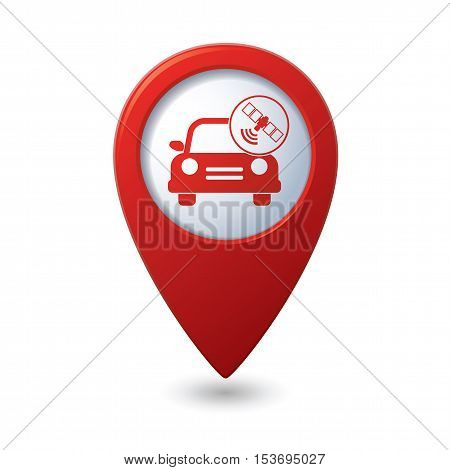 Car service. Car with wireless icon on red map pointer