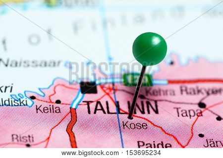 Kose pinned on a map of Estonia