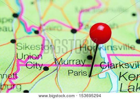Paris pinned on a map of Tennessee, USA