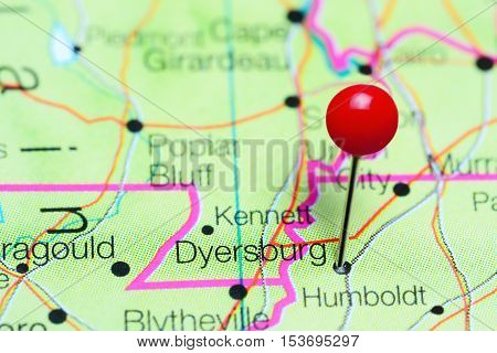 Dyersburg pinned on a map of Tennessee, USA