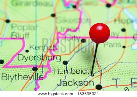 Humboldt pinned on a map of Tennessee, USA