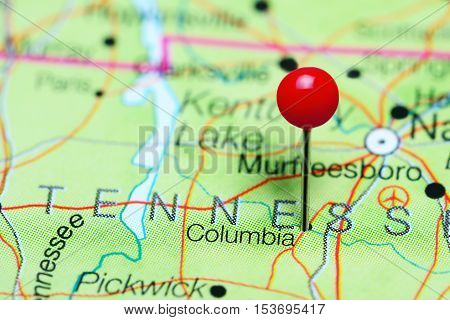 Columbia pinned on a map of Tennessee, USA