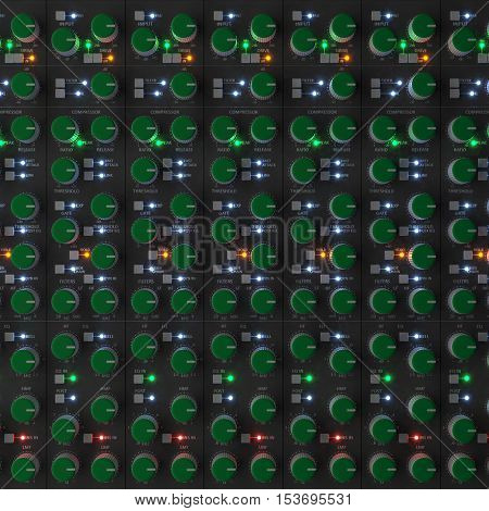 Professional multichannel recording mixer console with glowing LEDs (a high detail 3D illustration)