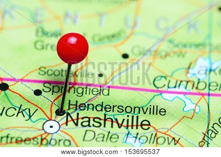 Hendersonville pinned on a map of Tennessee, USA