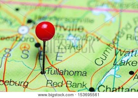 Tullahoma pinned on a map of Tennessee, USA