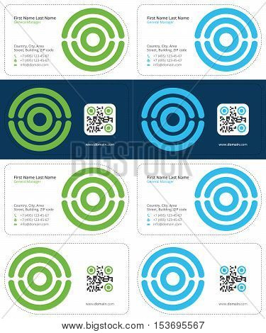 scan business cards with qr code, medical business cards, blue and green colors