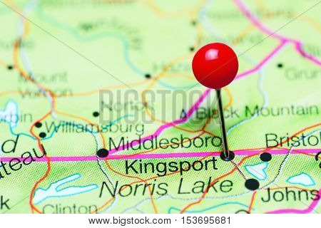 Kingsport pinned on a map of Tennessee, USA