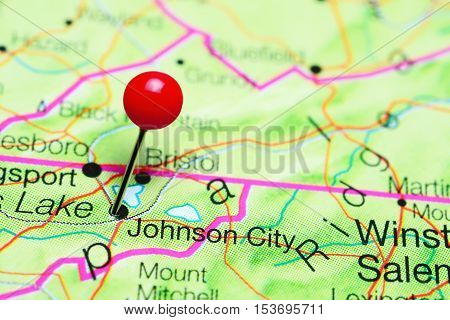 Johnson City pinned on a map of Tennessee, USA