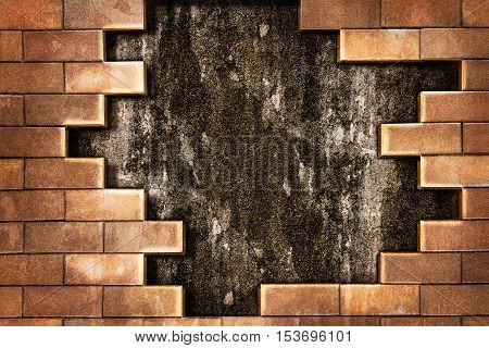 Brick and grunge cement wall for background and texture