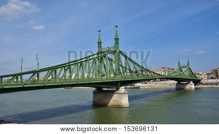 Liberty Bridge across River Danube in the center of Budapest a sample of late 19th century engineering