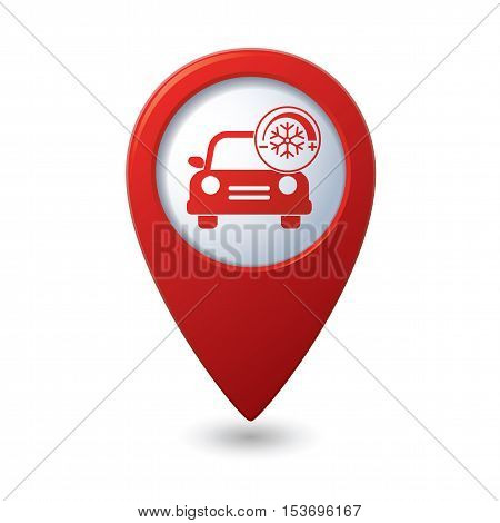 Car service. Car with air conditioner icon on red map pointer