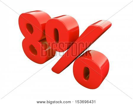 3d Render: Isolated 8 Percent Sign on White Background