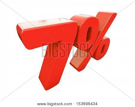 3d Render: Isolated 7 Percent Sign on White Background