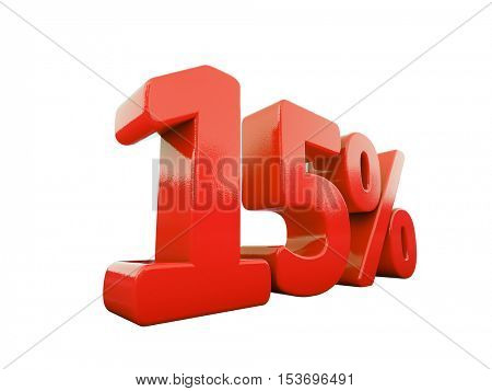 3d Render: Isolated 15 Percent Sign on White Background