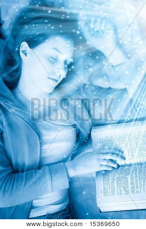 Young sleeping woman with book. Blue tint and small fairy stars.