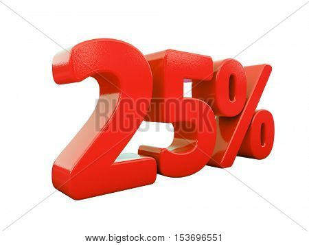 3d Render: Isolated 25 Percent Sign on White Background