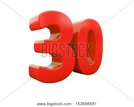 3d Render: Isolated 30 Number Thirty