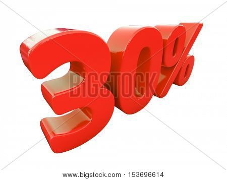 3d Render: Isolated 30 Percent Sign on White Background