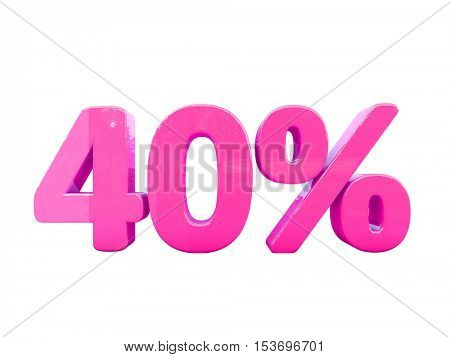 3d Render: Isolated 40 Percent Sign on White Background