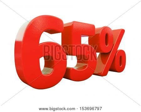 3d Render: Isolated 65 Percent Sign on White Background