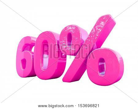 3d Render: Isolated 60 Percent Sign on White Background