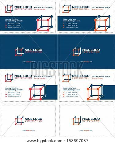 molecular cube business cards, dark blue, red and orange colors