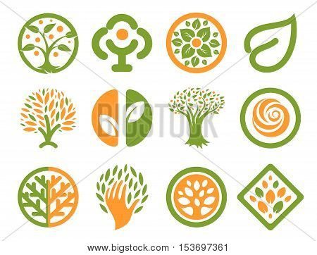 Isolated abstract green, orange color natural logo set. Nature logotypes collection. Environmental icons. Park emblem. Trees, leaves, flowers signs. Eco products symbol. Vector natural illustration.