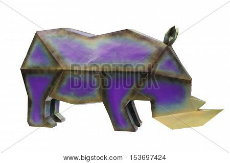 Rhino made from steel for ornamental gardens.