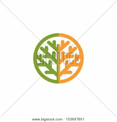 Isolated abstract green, orange color tree logo. Natural element logotype. Leaves and trunk icon. Park or forest sign. Environmental symbol. Vector tree illustration
