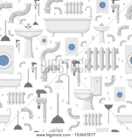 Plumbing service flat icons: water pipe, toilet, bathroom bathtub, radiator and heating repair tools, seamless pattern