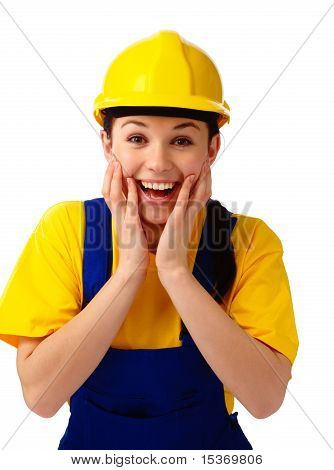 Construction Girl Holding Her Face In Astonishment