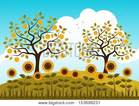 vector bed of sunflowers and apple trees in autumn garden
