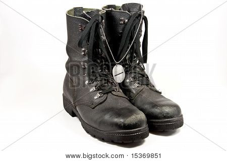 Army Boots With Dog-tag