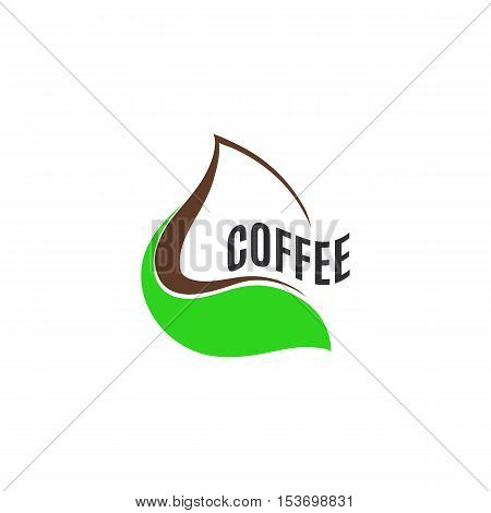 Isolated abstract brown color drop in green leaf logo. Coffee and chocolate logotype. Natural products icon. Eco drink sign. Vector illustration