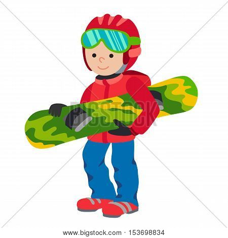 Kid child boy smile with snowboard winter sport jacket hat clothing snow vector graphic isolated and flat illustration