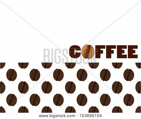Isolated abstract coffee beans background. Energetic caffeine drink logo. Cafe logotype. Vector illustration