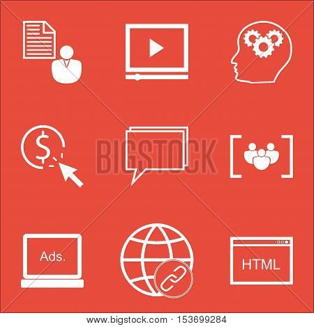 Set Of Marketing Icons On Coding, Video Player And Ppc Topics. Editable Vector Illustration. Include