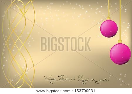 Golden Christmas and New Year Greeting card with gold ornament and pink Chrismas balls
