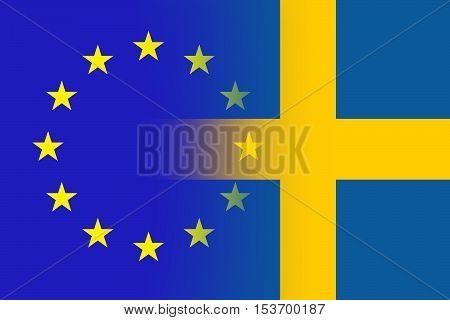 EU and Swedish flag - Vintage flag concep